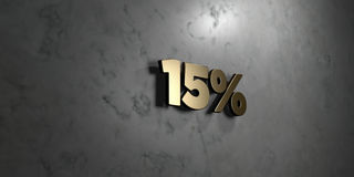 15% - Gold sign mounted on glossy marble wall  - 3D rendered royalty free stock illustration. This image can be used for an online website banner ad or a print Stock Photography