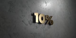 10% - Gold sign mounted on glossy marble wall  - 3D rendered royalty free stock illustration. This image can be used for an online website banner ad or a print Royalty Free Stock Photography