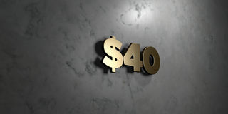 $40 - Gold sign mounted on glossy marble wall  - 3D rendered royalty free stock illustration. This image can be used for an online website banner ad or a print Royalty Free Stock Photos