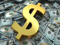 Gold sign on a new hundred dollars bill Stock Photo
