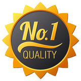 Gold sign No.1 quality. Vector illustration Stock Photos