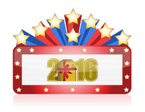 2016 gold sign and stars illustration design Royalty Free Stock Photography