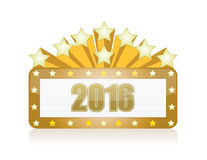 2016 gold sign and stars illustration design. Graphic Royalty Free Stock Photography