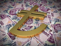 Gold sign on Two hundred tl Stock Images