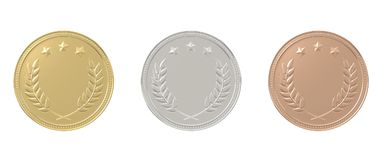 Gold, Silber, Bronzemedaillen eingestellt Stockbild