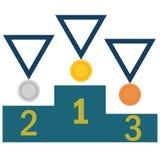 Gold, Silber, Bronzemedaillensatz lizenzfreie abbildung