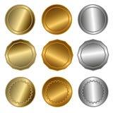 Gold, Silber und Bronzedichtungen oder -medaillen Stockfotografie