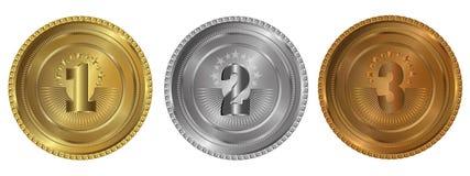 Gold, Silber und Bronzedichtungen oder -medaillen Stockfoto
