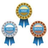 Gold-, Silber- und Bronzenpreise Stockbild