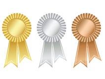 Gold-, Silber- und Bronzenrosetten Stockbilder