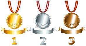 Gold-, Silber- und Bronzenspiele standen Set in Verbindung Lizenzfreie Stockfotografie