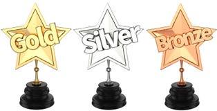 Gold, Silber- und Bronzetrophäen/Preise Lizenzfreie Stockfotos