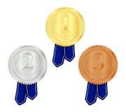 Gold-, silberne und Bronzemedaille Lizenzfreie Stockbilder