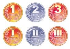 Gold-, silberne und Bronzemedaillen. Stockfotografie
