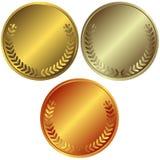 Gold-, silberne und Bronzemedaillen Lizenzfreie Stockbilder