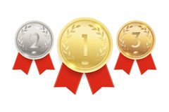 Gold-, silberne und Bronzemedaillen, Meisterschaftspreise mit roten Bändern Auch im corel abgehobenen Betrag lizenzfreie abbildung