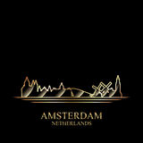 Gold silhouette of Amsterdam on black background Stock Images