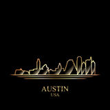 Gold silhouette of Austin on black background Royalty Free Stock Photo