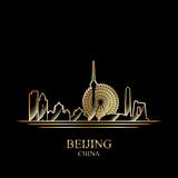 Gold silhouette of Beijing on black background Royalty Free Stock Photography