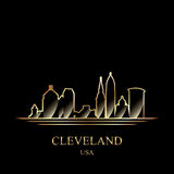 Gold silhouette of Cleveland on black background Royalty Free Stock Images