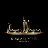 Gold silhouette of Kuala Lumpur on black background Royalty Free Stock Image