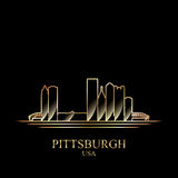 Gold silhouette of Pittsburgh on black background Stock Photo