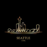 Gold silhouette of Seattle on black background Royalty Free Stock Image