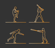 Gold silhouettes of baseball. Stock Photography