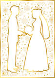 Gold silhouettes of the bride and groom Royalty Free Stock Photos