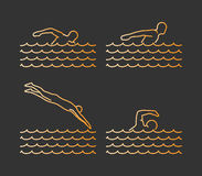 Gold silhouettes of swim. Vector set of linear swimmer figures Royalty Free Stock Photos