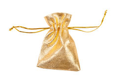 Gold silk bag Royalty Free Stock Image