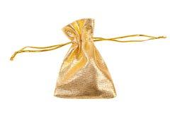 Gold silk bag Stock Photo