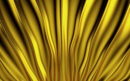 Gold silk drapery and fabric background. 3d render. Ing Stock Photography
