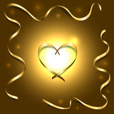 Gold silk heart with frame ribbons shiny light background Stock Images