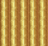 Gold silk pattern. Asian gold silk seamless patterns. Decorative ornament on gold background, silk textile. Gold texture royalty free illustration