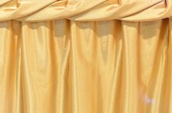Gold Silk tablecloth background Stock Image
