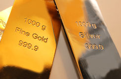 Gold and silver. Bars are isolated on background Royalty Free Stock Image