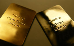 Gold and silver. Bars are isolated on background Stock Photo