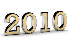 Gold and silver 2010. 2010 new year gold silver 3d Royalty Free Stock Images