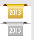 Gold and silver 2013 labels. Two Stickers on the edge of the page Stock Photos