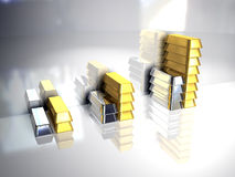 Gold and silver. Ingots Stock Photo