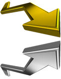 Gold and silver 3D arrows stock illustration