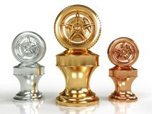Gold, Silver And Bronze Wheel Awards Royalty Free Stock Photography