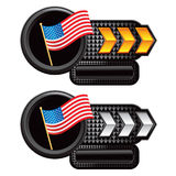 Gold and silver arrow nameplates american flag Stock Images