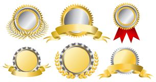 Gold and silver award ribbons. This image is a vector illustration and can be scaled to any size without loss of resolution Royalty Free Stock Image