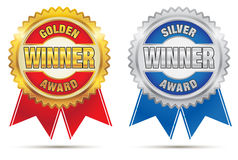 Gold And Silver Awards Stock Photo
