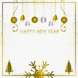 Gold and silver background with Snowflake and ball for Christmas Holiday Season 2019, Vector illustration.  vector illustration