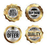Gold and Silver Badges. Set of Four. Best Offer, Buy Now, Exclusive Offer, Highest Quality. Royalty Free Stock Images