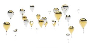 Gold and Silver Balloons Royalty Free Stock Photography