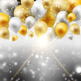 Gold and silver balloons background Royalty Free Stock Photography